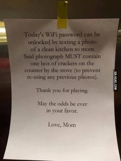 Getting your kids to do their chores is a major chore in Parenting humor - Withhold the WiFi password until proof that the kitchen is clean. Parenting Done Right, Kids And Parenting, Parenting Hacks, Parenting Goals, Foster Parenting, Parenting Classes, Peaceful Parenting, Gentle Parenting, Parenting Quotes