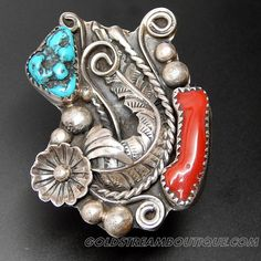 Native American Navajo Sterling Silver Boulder Turquoise & Coral Saw T – Gold Stream Boutique