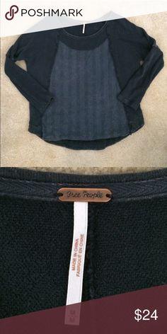 Free people sweatshirt EUC free people pull over. A destroyed gray/black vintage wash. Size medium. Free People Sweaters