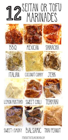 12 Seitan or Tofu Marinades! Each marinade takes less than 5 minutes to prepare using pantry staples you might already have on hand. Let your seitan or tofu marinate in the fridge for up to 4 days, or you can freeze them for later. #itdoesnttastelikechicken #seitan #veganrecipes via @itdoesnttastelikechicken