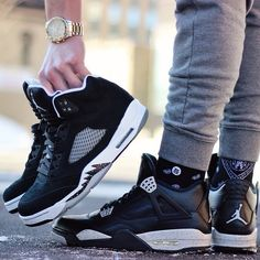 "Nike Air Jordan 4 & 5 ""Oreo"" @tylermaclellan"