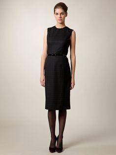 WOOL WINDOWPANE PLAID SHEATH DRESS by Carolina Herrera