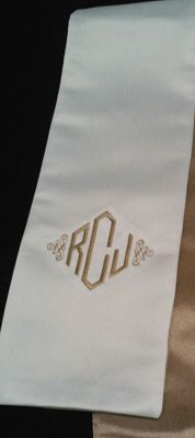 Beautiful gold and white Bishop monogrammed stole with a straight edge.