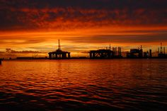 sunsets on oil rigs