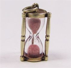 RARE Walter Lampl 1940's Hourglass Pink Ruby Sand 14K Gold Charm...sand is real crushed rubies!!