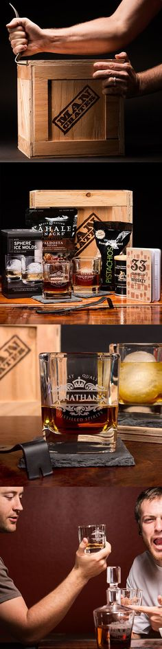 The Glass with Class:  Nothing spells exquisite taste like reading their own names on a pair of personalized whiskey glasses. The Personalized Whiskey Crate is the ultimate gift for the guys who live on the classier side of life.