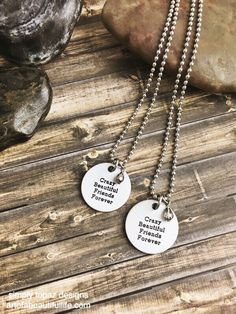 Crazy, beautiful friends...forever | Friends Necklace Set, Inspirational Jewelry, Friendship Jewelry, Jewelry Set, Inspirational Quote Necklace, Quote Necklace, Metallic ...by simply topaz | https://www.etsy.com/listing/254282406/friends-necklace-set-inspirational