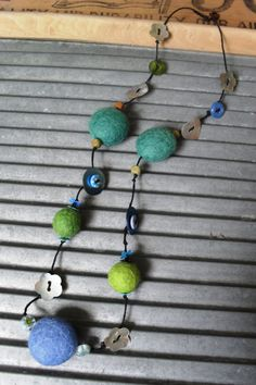Unique felt/ beaded necklace by lovebetti on Etsy, £15.00