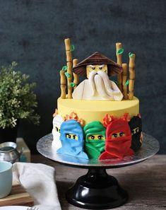 Lego Ninjago birthday cake made with Satin Ice Fondant Bolo Ninjago, Bolo Lego, Lego Ninjago Cake, Ninjago Party, Ninja Lego Cake, Cake Minion, Minion Cupcakes, Superhero Cake, Cakes To Make