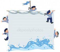Banner o tarjeta con marineros felices — Ilustración de stock Banner, Photoshop, Illustration, Happy, Sailors, Toddler Girls, Sailor Cap, Baby Drawing, Nail Forms