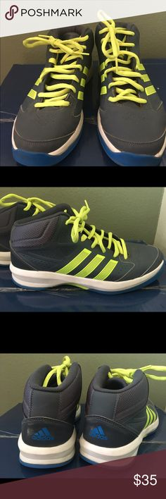 Tennis shoes Adidas Men's basketball shoe in Gray/ blue / yellow . Perfect condition and very comfortable . It's been used couple times only. Adidas Shoes Athletic Shoes