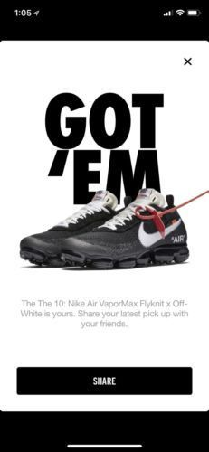 cb91a342c6bfe Off-White X Nike Air VaporMax Size 7.5 FK Flyknit The Ten Black Clear AA3831