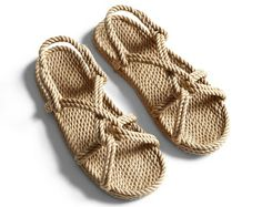 Handwoven rope sandals with knot-detail design in collaboration with Gurkee's. Crochet Sandals, Crochet Shoes, Crochet Slippers, Rope Sandals, Black Sandals, Pump Shoes, Shoes Heels, Flat Shoes, Crochet Flip Flops
