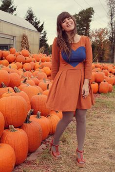 orange and blue heart dress again