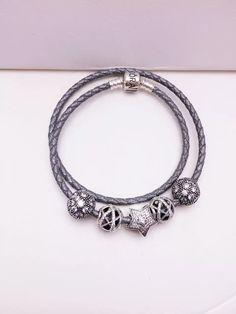 $159 Pandora Sterling Silver Leather Charm Bracelet CB01240