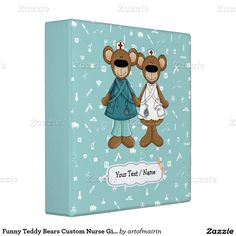 Funny Teddy Bears Design Happy Nurses Day / Happy Nurses Week / Thank You Nurse / Graduation from Nursing School Gift Binders for Nurses with personalized name or text. Matching Cards in various languages , postage stamps and other products available in the Business Related Holidays / Healthcare Category of the artofmairin store at zazzle.com