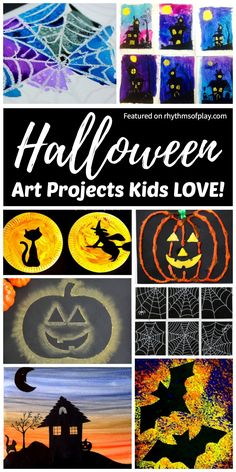 Best Halloween Art Projects For Kids Halloween Art Projects Kids Love Spooky And Not So Spooky Fun And Easy Halloween Art Ideas Including Pumpkins Bats Cats Witches Monsters Spider Webs And Art Halloween, Halloween Art Projects, Halloween Arts And Crafts, Halloween Canvas, Fall Art Projects, Art Projects For Teens, Halloween Painting, Fall Crafts, Diy Crafts