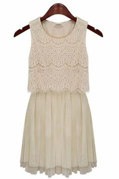 Fashion Sleeveless Lace Chiffon Dress (2 colors)_daily dress_Dresses_CLOTHING_Voguec Shop