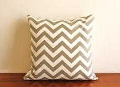 Light gray chevron throw pillow, $58