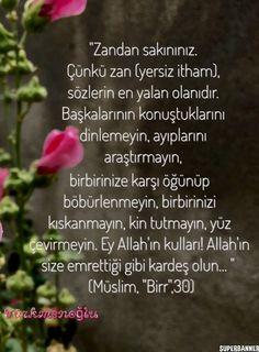 """""""Zandan sakınınız. Çünkü zan (yersiz itham), sözlerin en yalan olanıdır. Başkalarının konuştuklarını dinlemeyin, ayıplarını araştırmayın, birbirinize karşı öğünüp böbürlenmeyin, birbirinizi kıskanmayın, kin tutmayın, yüz çevirmeyin. Ey Allah'ın kulları! Allah'ın size emrettiği gibi kardeş olun... """"    (Müslim, """"Birr"""",30)"""