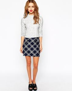 New Look Quilted Check Print Mini Skirt