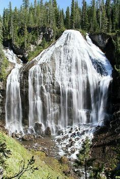 Union Falls, in Yellowstone National Park. At 260 feet, this is the park's second-highest waterfall. Its unique shape makes it one of the park's most picturesque landscapes.