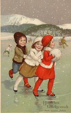 VINTAGE POSTCARD - CHILDREN SKATING