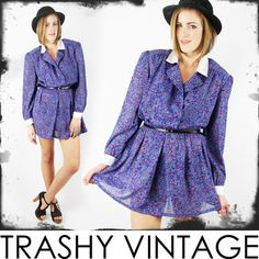 vtg 80s 90s revival SHEER FLORAL print SECRETARY BABYDOLL dolly mini dress S/M $28.00