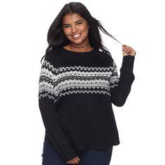 Junior's Plus Size SO® Fair Isle Mockneck Sweater, Teens, Size: 1XL, Dark Grey