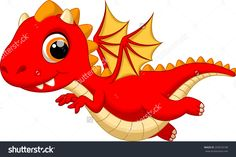 Cute Baby Dragon Flying Cartoon Stock Vector 203974198 - Shutterstock