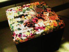 cat fabric on box cusion