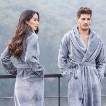 Women and man Couples Robe Winter Long Bathrobe Male Excellent Polyester  Fiber Pajamas Nightgown Sleepwear Mens b4082c9225