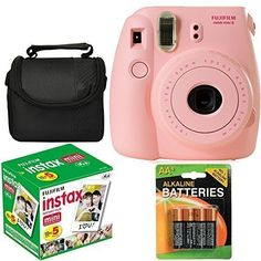 Fujifilm Instax Mini 8 Instant Film Camera (Pink) With Fujifilm Instax Mini 5 Pack Instant Film (50 Shots) Compact Bag Case Batteries Top Kit - International Version (No Warranty) -- You can find more details by visiting the image link.