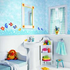 222 Kids Bathroom Themes, kids bathroom accessories, kids bathroom sets ~ Home Design Kids Bathroom Sets, Little Girl Bathrooms, Sea Bathroom Decor, Fish Bathroom, Childrens Bathroom, Baby Bathroom, Bathroom Canvas, Shared Bathroom, Neutral Bathroom