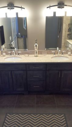 Cambria Quartz Top Color Is Darlington Simple Clean Mirrors And Kohler Forte Facuet In Polished Chrome Complete This But Stylish Look