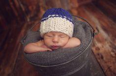 Newborn Hat Colbalt Blue Newborn Hat White and by bluestonesky
