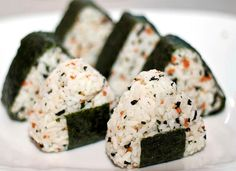 Onigiri! Cassie and I made these last week when we had leftover rice from sushi, and filled them with avocado. Then I made some the next day and filled them with dill pickle. They are really, really good.
