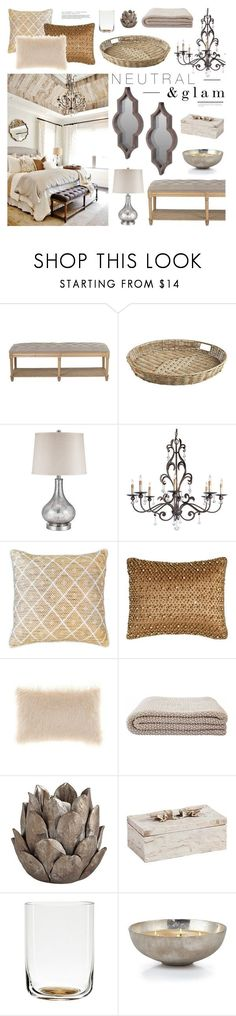 """Neutral & Glam Bedroom"" by emmy ❤ liked on Polyvore featuring interior, interiors, interior design, home, home decor, interior decorating, Universal Lighting and Decor, Pier 1 Imports, Bandhini Homewear Design and Pyar & Co."