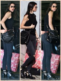 Low-key: Kendall Jenner was wearing a casual black vest and skinny jeans with combat boots as she ventured out and about in West Hollywood with her friends on Saturday