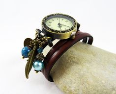 Montre femme Cuir breloques à personnaliser - leather bracelet watch de la boutique Cristalizade sur Etsy