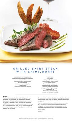 Celebrity Cruise Lines Recipe for Grilled Skirt Steak with Chimichurri. Meat Recipes, Gourmet Recipes, Cooking Recipes, Wedding Food Menu, Food Plating Techniques, Skirt Steak, Cafe Food, Molecular Gastronomy, Teller