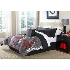 Cannon Layered Leaves Comforter - Gray, Red, White and Black