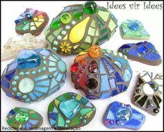 rocks, paint, hot glue, gems from  dollar store!