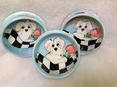 Pet Bowl Three 8 Dog Bowls for Food or Water Personalized at no Charge Signed by Artist Debby Carman * You can get more details by clicking on the image.(This is an Amazon affiliate link and I receive a commission for the sales)