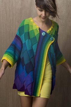 Ravelry: Art Deco Cardigan pattern by Helen Hamann Holy cow this is gorgeous. If I could do entrelac... or finish anything... $ 9