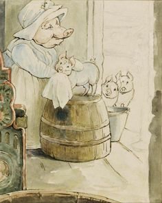 Aunt Pettitoes and three piglets - The Tale of Pigling Bland, 1896