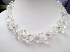 XaXe.com - Excelent 17'' white crystal & lavender pearls Necklace