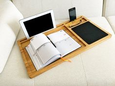 Lap desk Solid wood laptop stand with mouse pad, slots for Macbook and iPhone Mobile workstation Wooden computer stand Writing lap tray Gift Portable Laptop Desk, Laptop Tray, Laptop Table, Wooden Laptop Stand, Laptop Screen Repair, Macbook, First Fathers Day Gifts, Solid Wood Desk, Oak Desk