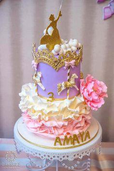 Beautiful ruffled cake from Mary Poppins Carousel Themed Birthday Party at Kara's Party Ideas!