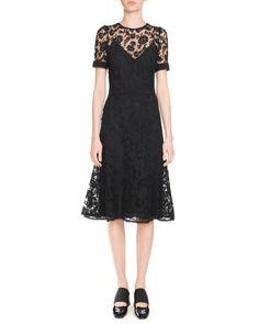 Anna Lace Short-Sleeve Dress, Black